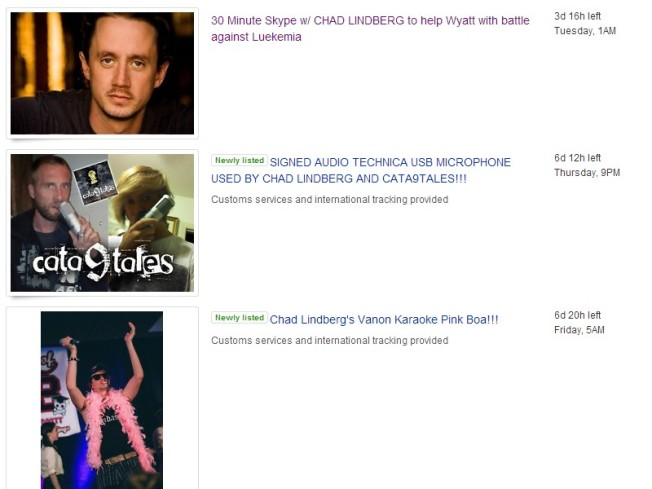 Chad Lindberg auction